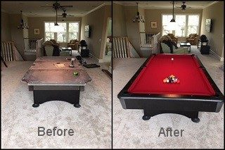 Pool table recovering process in Nashville, Tennessee