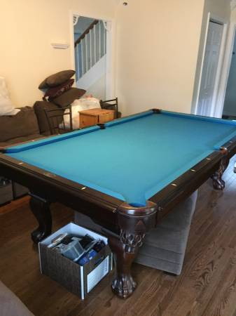 8 Foot Legacy Pool Table For Sale. 3 Price Slate, Light Blue Felt, Leather  Pockets. Great Condition, Comes With A Matching Wall Mount, 4 Pool Sticks,  ...