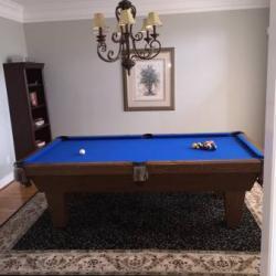 Blue Felt Pool Table